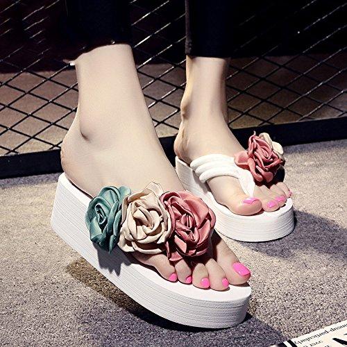 Estate Sandali 5.5cm I pistoni freddi antiscivolo (nero, beige, marrone, blu scuro, azzurro, rosa, bianco) Colore / formato facoltativo Bianca