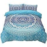 NTBED Bohème 3pcs égyptien Mandala Hippie Gypsy Nirvana Yoga Indien Home Parure de lit Housse de Couette, Bleu, Double