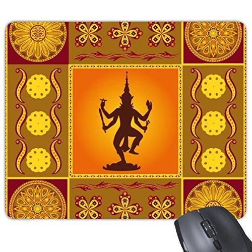 Indien Geschmack Hinduismus und Lotus Flower und Gott Figur Watercolor Illustration Rechteck rutschfeste Gummi Mauspad Spiel Maus Pad