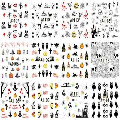 XZX 12 Designs Nagel Halloween Kürbis Schädel Geist Tier Buntes interessantes Bild