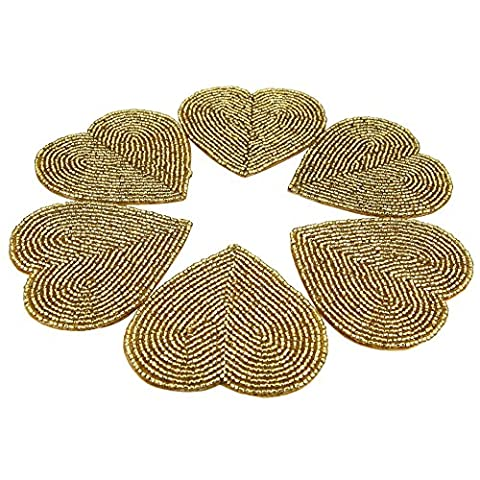 Handmade Beaded Heart Coaster Set With 6 Golden, 10 CM Coasters - Heat-Resistant Polyester Backing & Genuine Glass