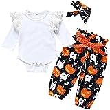 0-2 Años,SO-buts 3pc Niño Recién Nacido Bebé Niñas Halloween Volantes Mameluco Mono Arco Impresión Pantalones Trajes Ropa Con