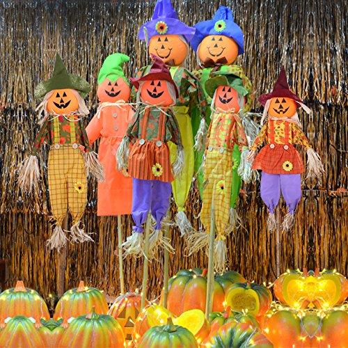 ekoration Kürbis Hexe Vogelscheuche Ornamente Ghost Festival ghost Häuser Showcase bar Szene eingerichtet, Requisiten, Verbrauchsmaterial, 100 cm Vogelscheuche Kürbis random Versand Gesicht (Eingerichtete Häuser Für Halloween)