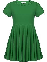 c5111d33456c8c Mädchen Kurzarm Skaterkleid A-Linie Sommer Kleid Baumwolle Swing Prinzessin  Hem Kleider einfarbig Basic Fattern