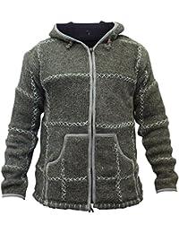 shopoholic FASHION UOMO 100% lavorato a maglia di lana Hippy Felpa con  cappuccio Giacca con cce25840490