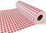 TISCHLÄUFER rot weiß kariert stoffähnlich 33,3 cm x 20 m - Design Landhaus rot