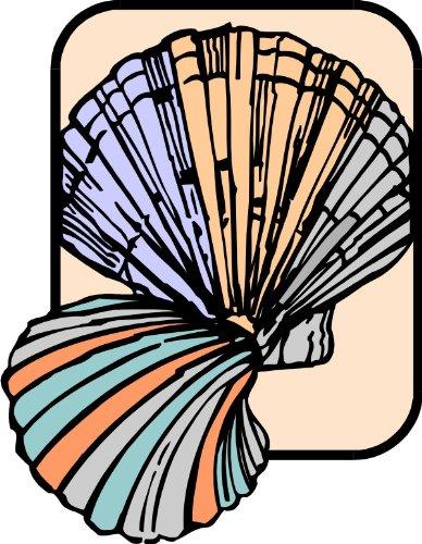T-Shirt E743 Schönes T-Shirt mit farbigem Brustaufdruck - Logo / Grafik - Comic Design - abstraktes Motiv mit Muscheln Schwarz