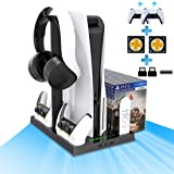 Vertical Stand for Playstation 5 with 2 Cooling Fan, 2 Charging Station for PS5 Digital/CD-ROM Edition Console with 15 Game S