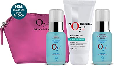O3+ Topical Combination of Anti Acne Cream, Gel and Serum with Seaweed Extracts Home Care Kit with Beauty Bag