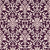 Tela laminada morada con estampado ornamental flor color natural de Cosmo Japón