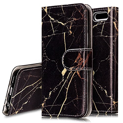 iPod Touch 6 Fall, iPod Touch 5 Fall, phezen iPod Touch 6./5. Generation - Weiß Marmor Creative Design PU Leder Flip Cover Ständer Schutzhülle Folio Schutzhülle mit Kartenschlitzen Black Gold Marble (Ipod Fällen Touch 5 Bling)