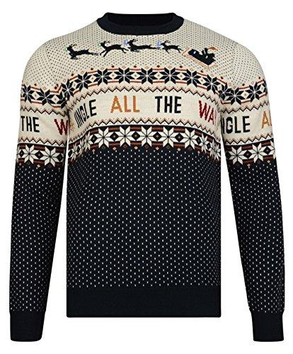Weihnachts Pullover LED Beleuchtung klimpern Weihnachten Neuheit Strickpullover unisex dunkelmarineblau - Blau, M