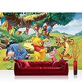 Fototapete 254x184 cm PREMIUM Wand Foto Tapete Wand Bild Papiertapete - Disney Tapete Disney - Winnie Pooh Kindertapete Cartoon Bär Tigger Ferkel Ballon Geburtstag grün...