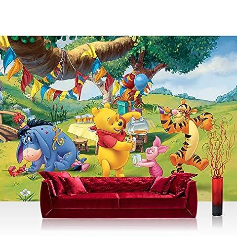 Vlies Fototapete 300x210 cm PREMIUM PLUS Wand Foto Tapete Wand Bild Vliestapete - Disney Tapete Disney - Winnie Pooh Kindertapete Cartoon Bär Tigger Ferkel Ballon Geburtstag grün - no. 922