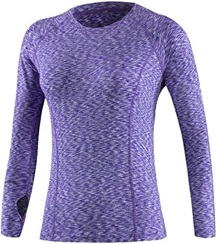 jeansian Donna Sport Esercizio Formazione Fitness Yoga Quick-Drying Maniche Lunghe T-shirt Maglietta SMF005 Purple M
