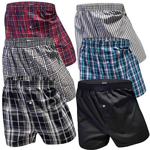 6 Stück Boxershorts Herren Baumwolle Unterhose Männer Trunks Web Boxershort Baumwolle Retroshorts Shorts (4XL/10, 6er Pack) -