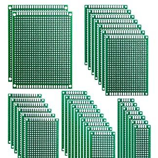 HeyNana 32 Piezas Placas de Fibra de Vidrio de Doble Cara de PCB Tarjeta Placa Prototipo Kit para Soldadura DIY con 5 Tamaños Compatible con los Kits Arduino y Raspberry