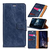 BONROY for Sony Xperia L3 Case, Luxury PU Wallet Case Flip Cover with Card Slots & Stand For Sony Xperia L3-(Crazy Horse - Blue KL)