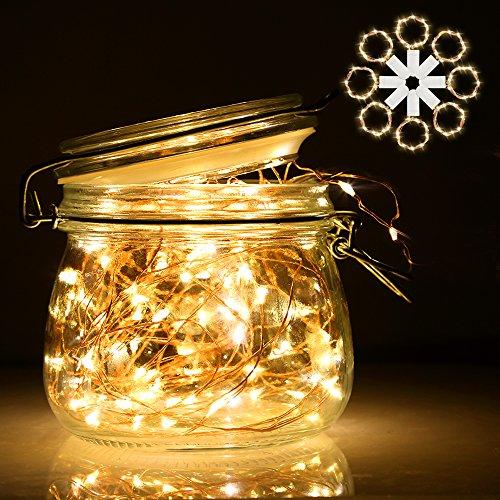 Lichterkette | LED Lichterkette mit Batterie | infinitoo 2m 20er Kupferdraht Lichterkette 8er-Pack | Batteriebetrieben Warmweiß Lichterkette für Innenbeleuchtung, Hochzeit, Weihnachten und Haus Deko