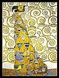 1art1 Gustav Klimt Poster Kunstdruck und MDF-Rahmen Schwarz - Die Erwartung, 1905-1909 (Detail) (80 x 60cm)
