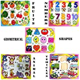 #7: Babytintin Set of 5 Wooden Learning Puzzle Boards Learn Shapes Numbers Animals Fruits Vehicles Wooden Puzzles for Kids