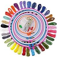 Faylapa Bordado Kit Herramienta de Punto de Cruz Kit con 5 Aros Bordado, 36 Colores de Hilo,Tela de punto cruz, Juego de agujas y otra herramienta de bordado