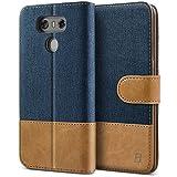 Coque LG G6, BEZ® Housse Étui en cuir de protection pour LG G6, Portefeuille en Cuir Polyuréthane, crochet, pochette pour monnaie, fermeture magnétique, Bleu