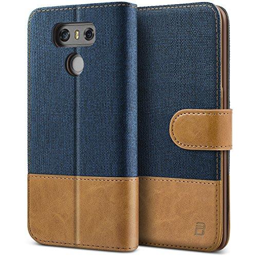 LG G6 Hülle, BEZ® Handyhülle LG G6, Handytasche Schutzhülle Tasche Flip Case [Stoff Bezug und PU leder] mit Kreditkartenhaltern, Standfunktion, Blaue Marine (Stoff-tasche G6)