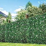 GardenKraft 26150 Clôture Artificielle en Saule avec Fleurs et Feuilles Vert 260 x 70 cm