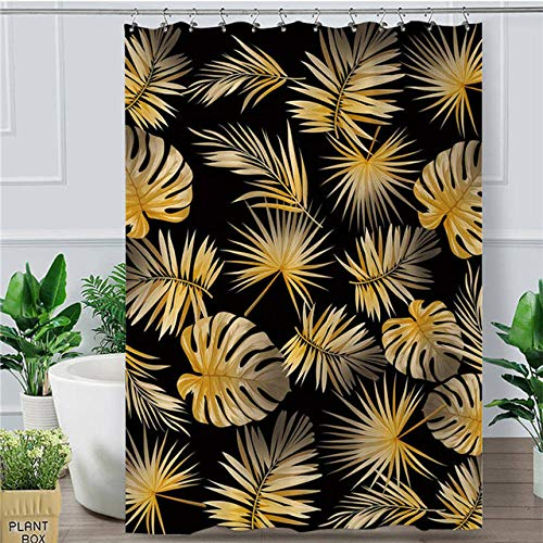 2 X Douche (bathroom home Golden Leaf Duschvorhang Tropical Botanic Wasserdicht Bad Vorhang Mit Haken Moderne Palm Leaves Douche 180X200 cm Schwarz 2)