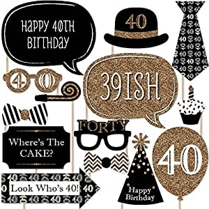 Adult 40th Birthday - Gold - Photo Booth Props Kit - 20 ...