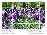 Graz Design 761329_15x15_60 Fliesenaufkleber Lavendel-Wiese für Kacheln | Bad-Fliesen mit Fliesenbildern überkleben (Fliesenmaß: 15x15cm (BxH)//Bild: 90x60cm (BxH))