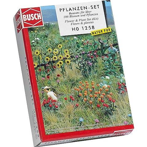Busch 1258 - Natur Pur, set di fiori e piante da giardino