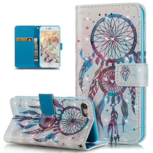 Custodia iPhone 7, iPhone 7 Cover, ikasus® iPhone 7 Custodia Cover [PU Leather] [Shock-Absorption] Fiore Dreamcatcher Modello Colorato verniciato con Bling Gitter scintillante Strass Brillante Protett Dreamcatcher blu