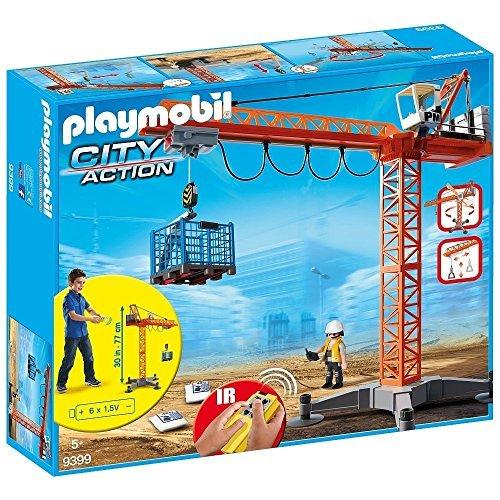 Playmobil 9399 Grande Grue De Chantier Avec Télécommande Infrarouge
