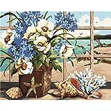 Fairylove 16 * 20 Zoll Malen nach Zahlen DIY Ölgemälde,Windowsill Seaside mit blühenden Blumen