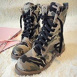 &zhou Mujer Martin botas de moda otoño y botas de camuflaje de invierno , 35 , army green