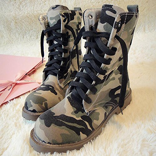 &zhou Femme Martin bottes d'automne et des bottes de camouflage d'hiver la mode army green