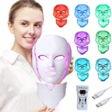 Foleto LED Face Mask Light Therapy - 7 Color Skin Rejuvenation Therapy LED Photon Mask Light Facial Skin Care with Neck Care