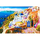 Puzzle House- Santorini, Grecia, Mar Egeo, Perfect Cut & Fit Puzzle di Legno per Adulti Bambini e Bambini, Boxed 500/1000/1500 Puzzle di Pezzi Giocattoli Gioco Challenge Painting Art for Age 8+ -409
