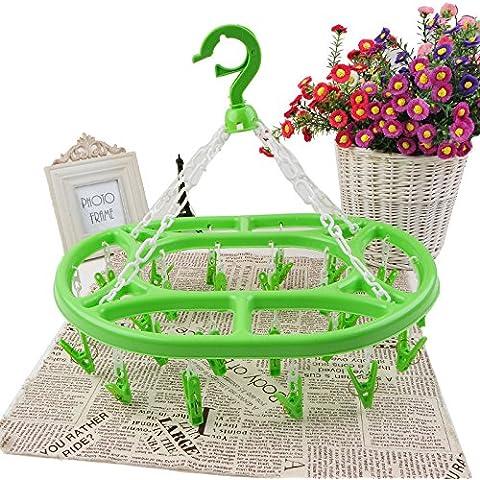GYMNLJY Appendini ellisse 24 clip stendibiancheria plastica essiccazione rack antivento (confezione da 3) , green , 43.5*34 - Guanto Secco Gancio