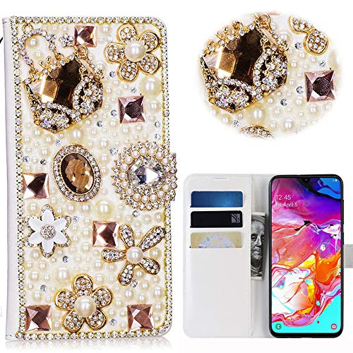 Bling Case Compatible Samsung Galaxy A70 Custodia 3D Handmade Luxury Women Case Wallet Leather Cover Brillantini Glitters Flip Caso in Pelle PU con Credit Card Slots Fold Stand Leather Cover - 4