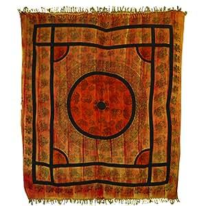Handicrunch Tagesdecke oranje schwarze Elefanten 240x210cm indische Decke Überwurf Baumwolle