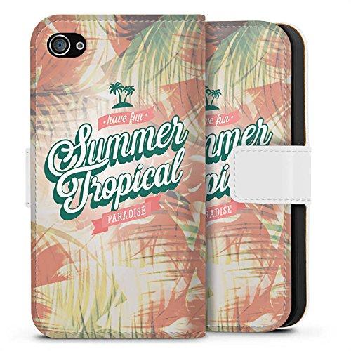 Apple iPhone X Silikon Hülle Case Schutzhülle Sommer Paradies Pastell Sideflip Tasche weiß