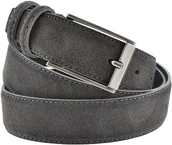 La Bottega del Calzolaio Cintura uomo in pelle scamosciata grigio scuro, artigianale, made in italy, 3,5 cm.
