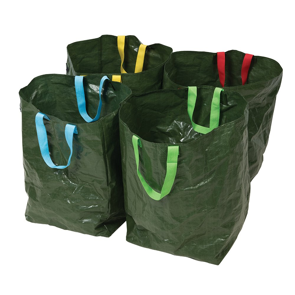 Silverline-Tools-410631-Recycling-Bags-Green-400-x-320-x-320-mm-Set-of-4-Piece