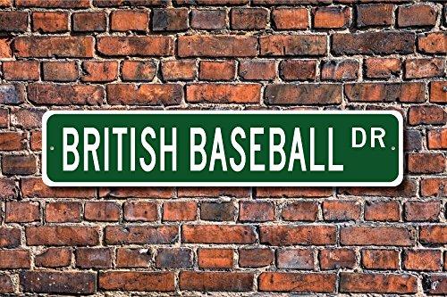 Aersing British Baseball Geschenk British Baseball Schild British Baseball Fan UK Spiel Yard Zaun Auffahrt Straßenschild Indoor Outdoor Deko