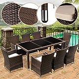 Miadomodo Salotto giardino esterno set tavolo e sedie giardino in polyrattan 17 pezzi modello Modern colore vetro tavolo nero mobili marrone