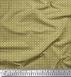 Soimoi Gelb Viskose Chiffon Stoff graue Band geometrisch