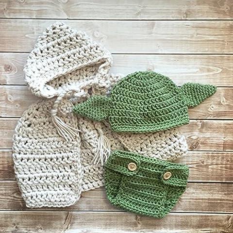 Yoda inspirado sombrero, capa con a juego, color/disfraz de Yoda/Star Wars inspirado sombrero disponible en recién nacidos a 12meses Size- hecho a la orden